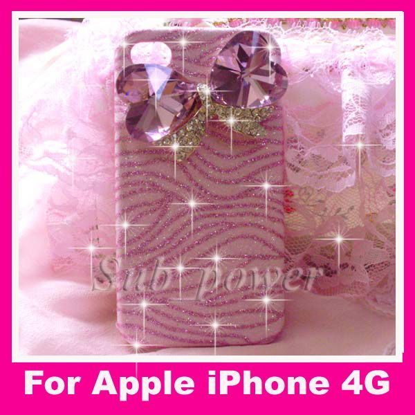 3D Bow pink zebras Bling Case cover for iPhone 4 4G B12