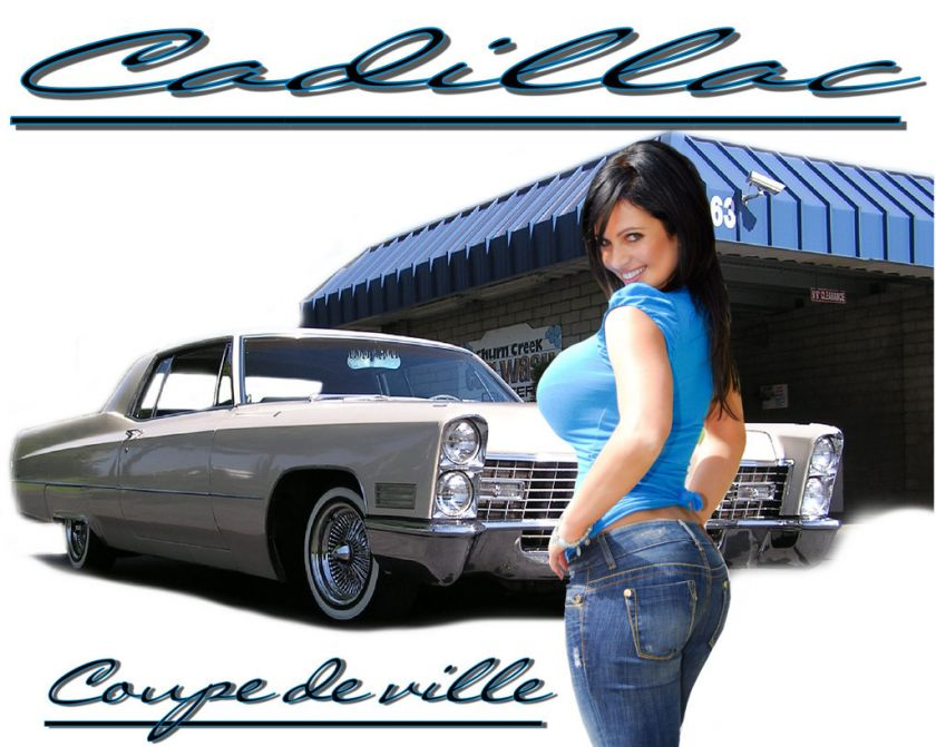 CAR SHIRT 1967 CADILLAC COUPE DEVILLE PINUP GIRL TSHIRT