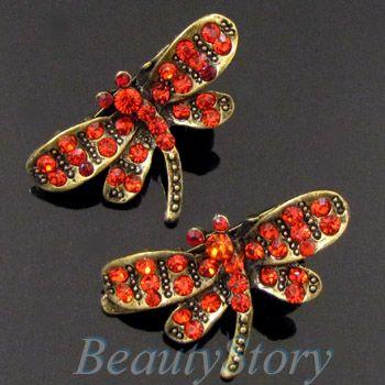 ADDL Item  2 antiqued rhinestone crystal dragonfly hair