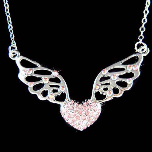 Swarovski Crystal ~Pink Fairy Angel Wings Heart~ Love Valentine