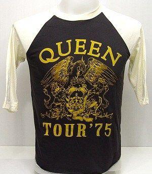 QUEEN Freddie 1975 Tour VTG Rock 3/4 Jersey T Shirt M
