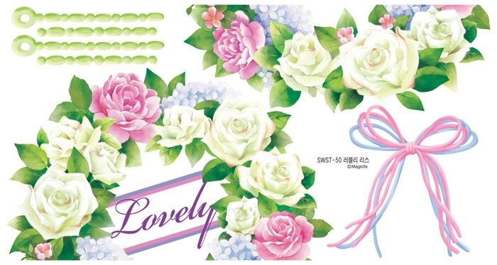 Flowers Lease Adhesive Removable WALL Home Decor Accents Stickers