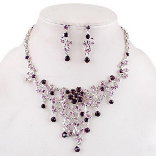 Necklace Earrings Set Flower Leaf Centre White gold plating Czech