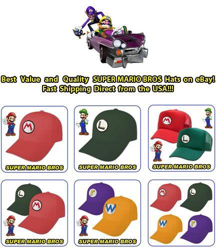 NEW SUPER MARIO & LUIGI COSTUME CAPS WARIO WALUIGI HATS