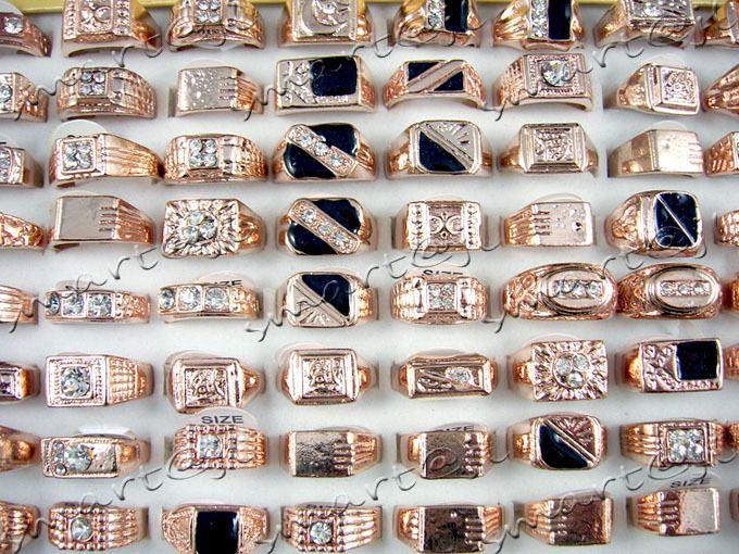 Mixed Lots 50PCS Crystal Rhinestone Rose gold plated Mens Rings SR38
