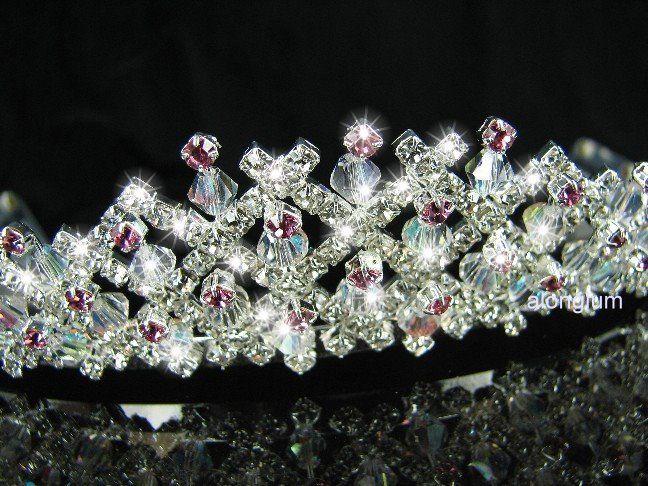 A195 1 Pink Wedding Bridal Bridesmaid Swarovski Crystal Rhinestone