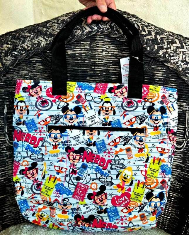 Disney Mickey Mouse Nerds Pattern Tote Bag NEW